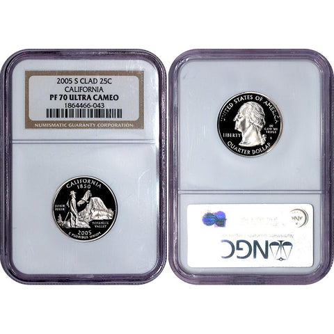 2005-S Clad Proof California Statehood Quarter - NGC PF 70 UCAM