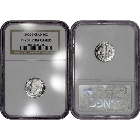 2005-S Clad Proof Roosevelt Dime - NGC PF70 Ultra Cameo