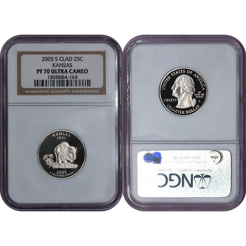 2005-S Clad Proof Kansas Statehood Quarter - NGC PF 70 UCAM