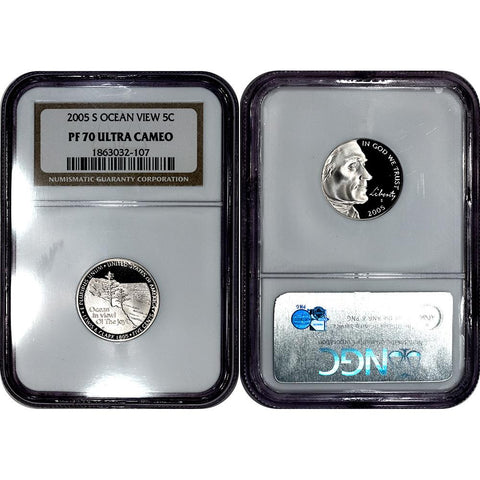 2005-S Ocean View Proof Jefferson Nickel - NGC PF 70 Ultra Cameo