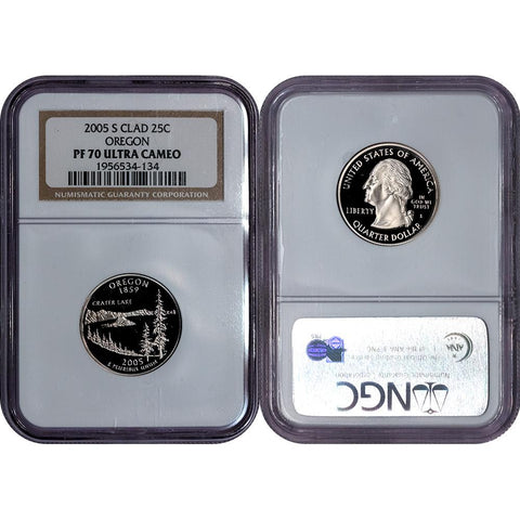 2005-S Clad Proof Oregon Statehood Quarter - NGC PF 70 UCAM