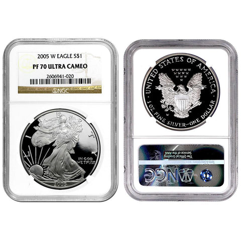2005-W Proof American Silver Eagles in NGC PF 70