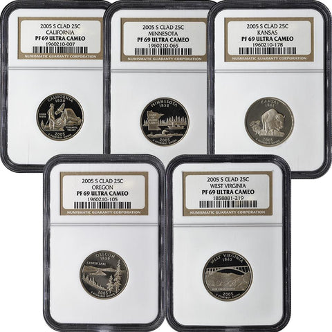 2005 Clad Proof Quarter Set - NGC PF69 Ultra Cameo