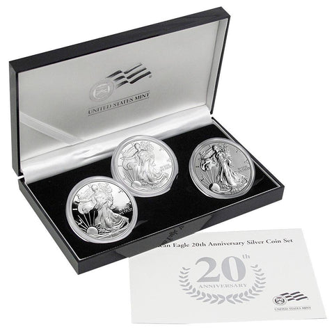 2006 American Eagle 20th Anniversary Silver 3-Coin Set - Gem in OGP