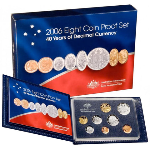 2006 8-Coin Proof Set, 40 Years of Decimal Coinage - Gem Proof in OGP