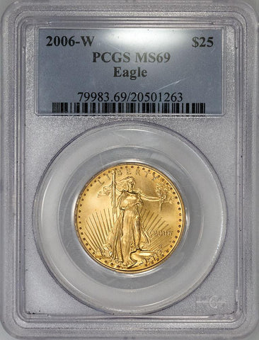 2006-W $25 Burnished American Gold Eagle - 1/2 oz Net Pure Gold - PCGS MS 69