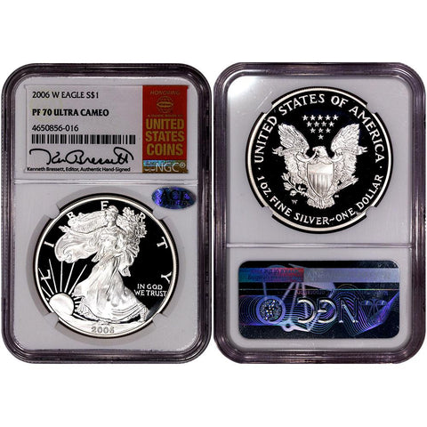 2006-W Proof American Silver Eagles in NGC PF 70 UCAM Bressett Signature