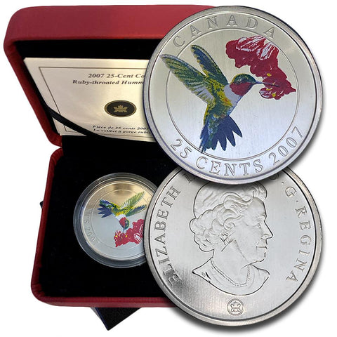 2007 Canada 25 Cents Ruby-throated Hummingbird Colorized - Gem in Box w/ COA