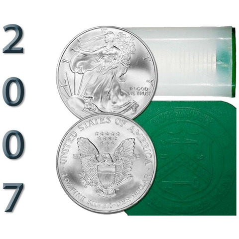 20-Coin Rolls of 2007 American Silver Eagles - Crisp BU Coins (less than $2 over spot)