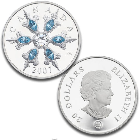 2007 Canada $20 Sterling Silver Blue Crystal Snowflake Coin - Gem Proof in Box/COA