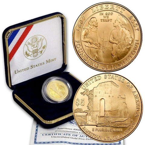 2007-W Uncirculated 400th Anniversary Jamestown $5 Gold - Gem in OGP w/ COA