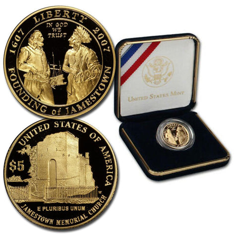 2007-W Proof 400th Anniversary Jamestown $5 Gold - Gem in OGP w/ COA