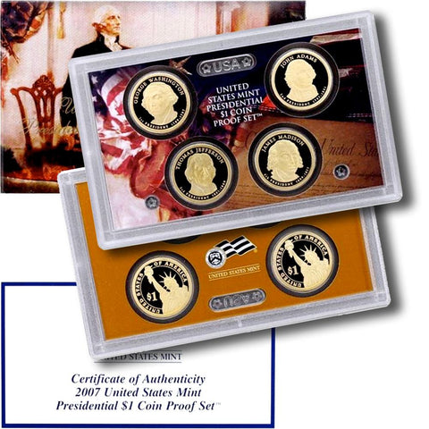 4-Coin 2007-S Presidential Dollar Proof Set - in Original Box with COA