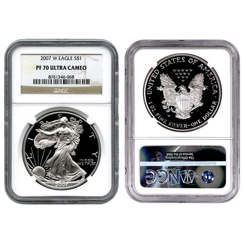 2007-W Proof American Silver Eagles in NGC PF 70