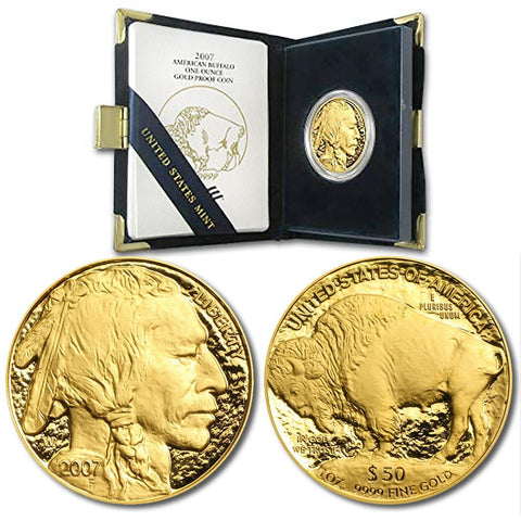 2007-W Proof $50 .9999 One Ounce Gold Buffalo in OGP
