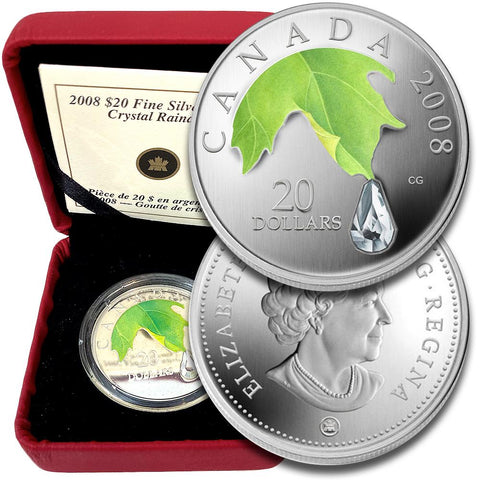 2008 Canada $20 Crystal Raindrop 1 oz .9999 Silver Proof - Gem in OGP