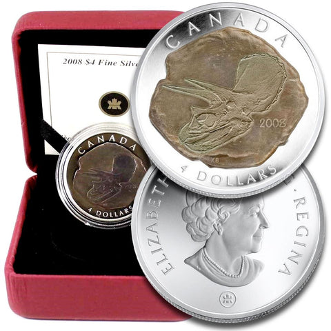 2008 Canada $4 Triceratops .9999 1/2 oz Silver Coin - Gem in OGP