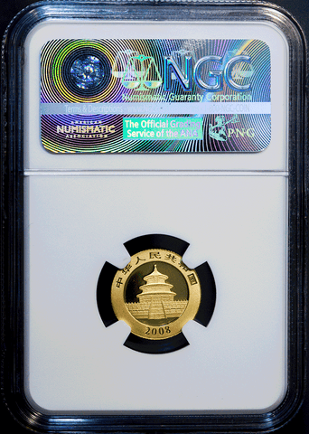 2008 China 50 Yuan 1/10 oz Gold Panda KM.1868 - NGC MS 69
