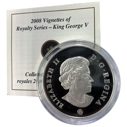 2008 Canada $15 Sterling Silver Vignettes of Royalty - King George V - in Capsule with COA