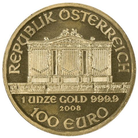 2008 Austria 1 Ounce Gold Philharmonic Coins - Just $10 Over Melt