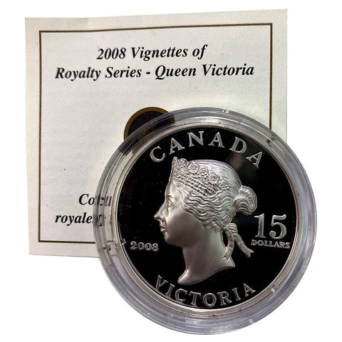 2008 Canada $15 Sterling Silver Vignettes of Royalty - Queen Victoria - in Capsule with COA