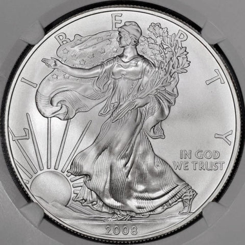 2008-W Burnished Silver Eagle in Mint Box, NGC MS 69 or NGC MS 70