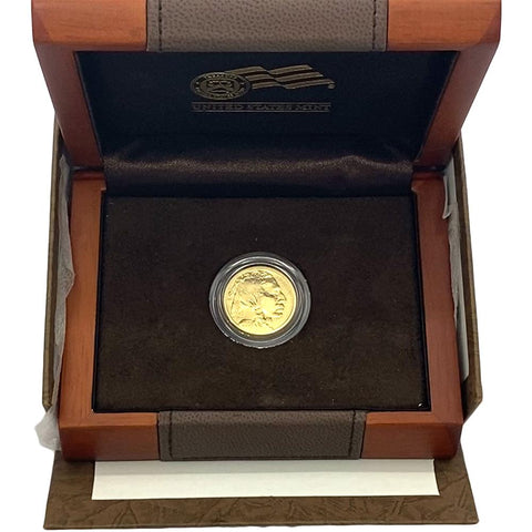 Low Mintage 2008-W Burnished $10 1/4oz .9999 Gold Buffalo in OGP with COA