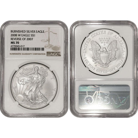 "2008-W ""Reverse of 2007"" Burnished Silver Eagle - NGC MS 70"