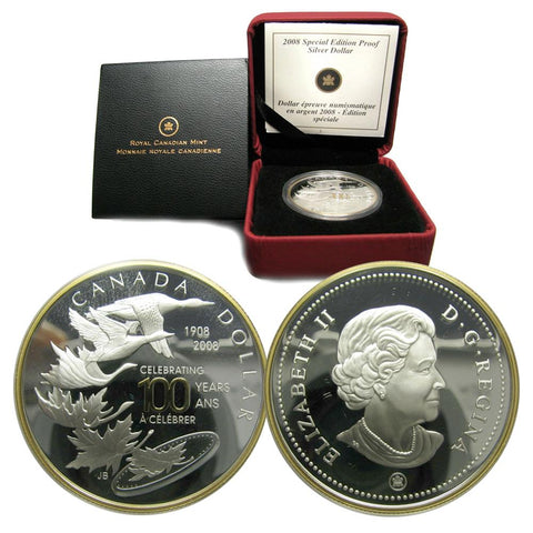 "2008 Royal Canadian Mint ""Celebrating 100 Years"" Special Edition Proof Silver Dollar w/ Box & C.O.A."