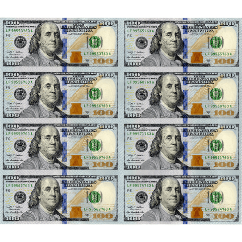 8-Subject Sheet of 2009-A $100 Federal Reserve of Atlanta Notes - Gem In OGP (Tube)