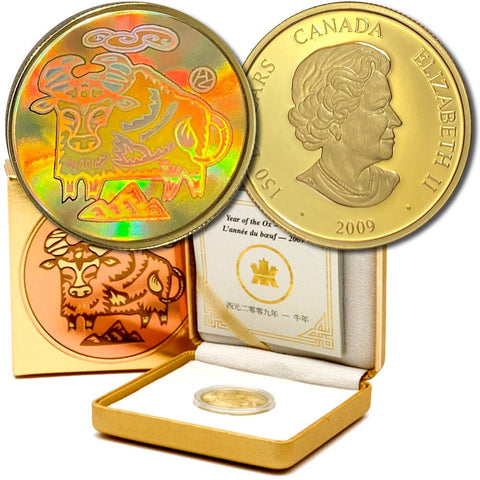 2009 Canada $150 Gold Lunar Year of the Ox Holographic Coin - Gem Proof