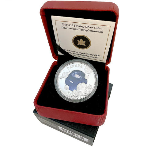 2009 Canada $30 International Year Of Astronomy Colorized Silver Proof - Gem in OGP
