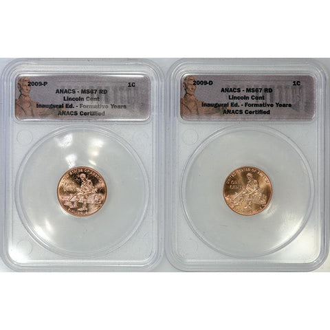 2009 P & D Lincoln Cent Formative Years Pair - ANACS MS 67