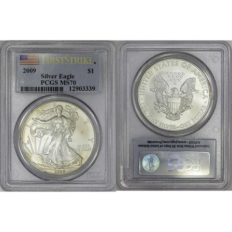 2009 American Silver Eagles in PCGS MS 70 First Strike (Toned Coin)