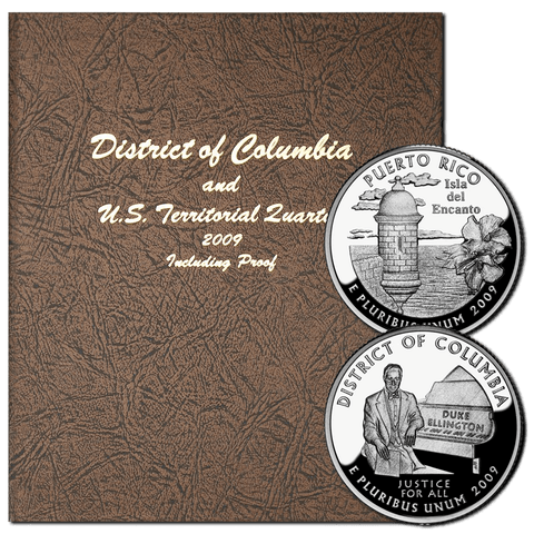 Complete 2009 P-D-S-S 24-Coin D.C. & Territorial Quarter Sets in Dansco Album