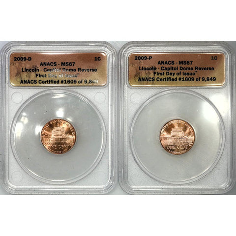 2009 P & D Lincoln Cent Capitol Dome Pair - ANACS MS 67