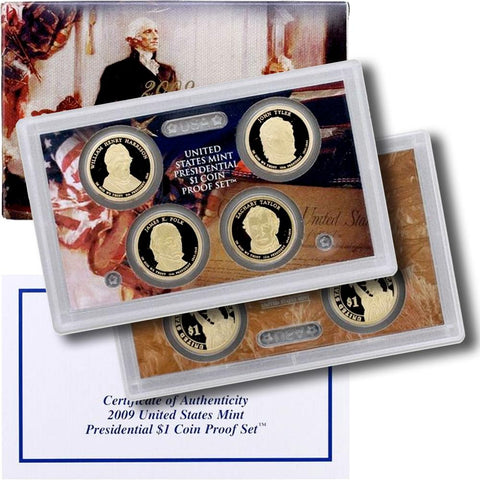 4-Coin 2009-S Presidential Dollar Proof Set - in Original Box with COA