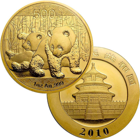 2010 500 Yuan 1 oz Gold Panda - Gem Uncirculated in Mint Plastic