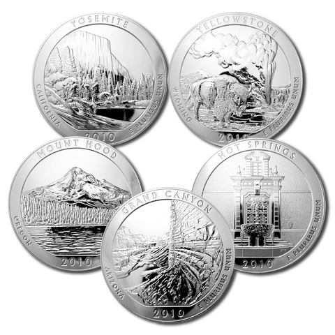 2010 America The Beautiful 5 oz Five Coin Silver Set