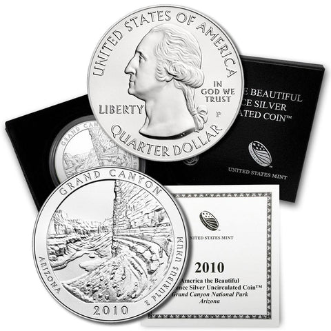 2010-P Grand Canyon America The Beautiful Silver Burnished 5 oz Quarter - Gem in OGP