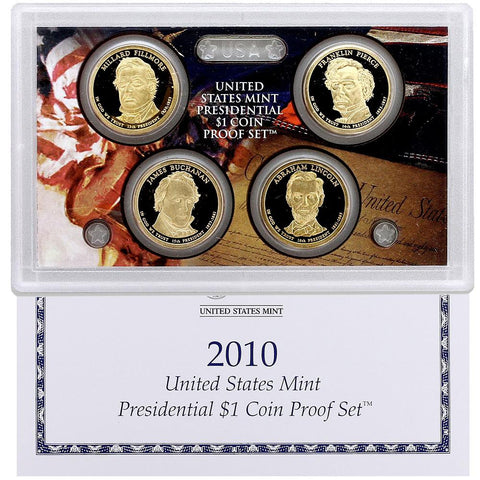 4-Coin 2010-S Presidential Dollar Proof Set - in Original Box with COA