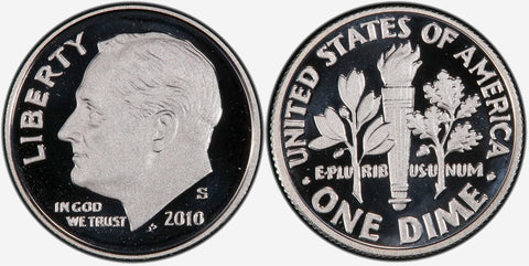 2010 to 2013 Roosevelt Dimes by Date- Brilliant Uncirculated