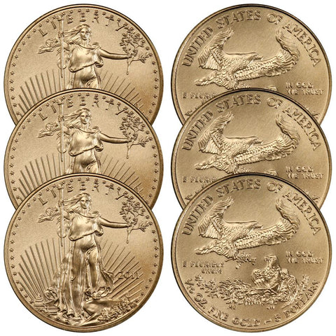2011 $5 1/10th Ounce American Gold Eagles - PQ Brilliant Uncirculated
