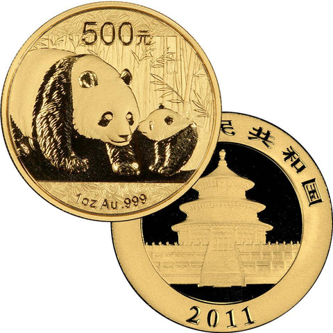 2011 500 Yuan 1 oz Gold Panda - Gem Uncirculated in Mint Plastic