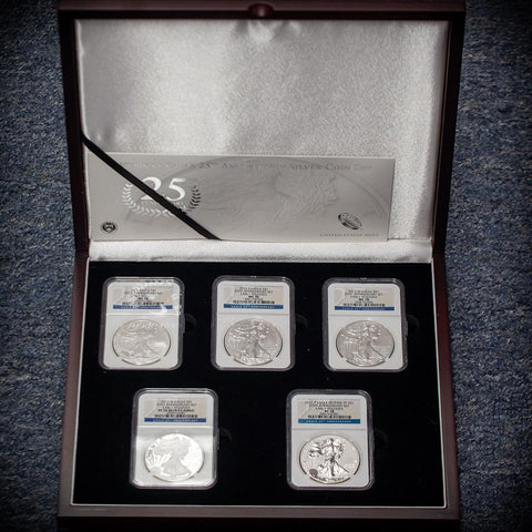 2011 25th Anniversary 5-coin American Silver Eagle Set in NGC 70