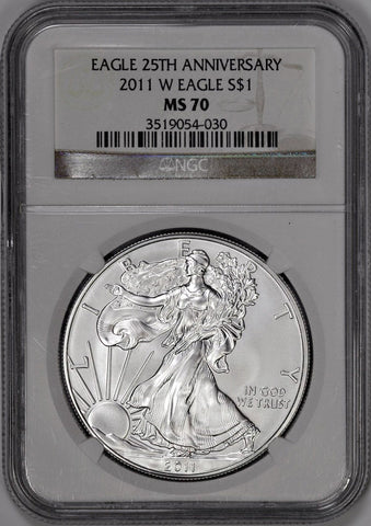 2011-W Burnished Silver Eagle in Mint Box, NGC MS 69 or NGC MS 70