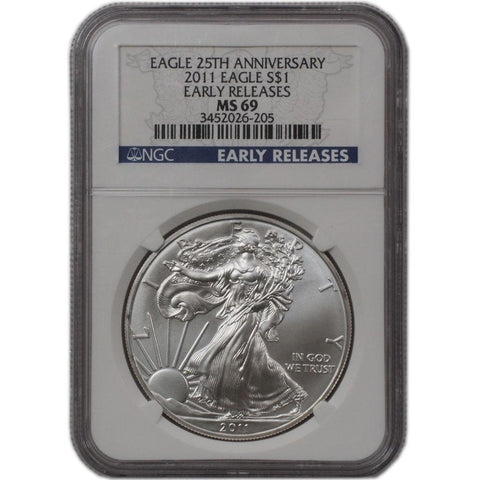 2011 American Silver Eagle ER in NGC MS 69