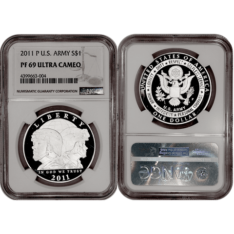 2011-P Army Commemorative Silver Dollar - NGC PF 69 Ultra Cameo