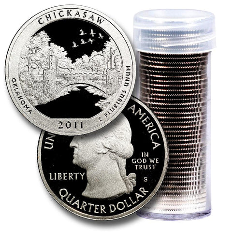 40-Coin Roll of 2011-S Chickasaw America The Beautiful Clad Proof Quarters - Directly From Proof Sets