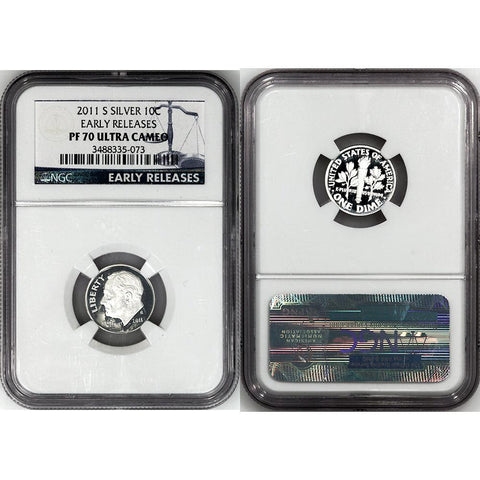 2011-S Proof Silver Roosevelt Dime - NGC PF 70 UCAM Early Releases